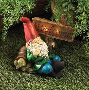 welcome gnome outdoor garden solar light statue patio garden decor yard art - Solar Garden Decor