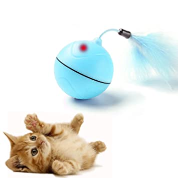 YAMI Interactive Cat Toys White Automatic Self Rotating LED Light Cat Chaser Ball Rechargeable Entertainment Exercise Toy with Detachable Feather and Colored Ribbon