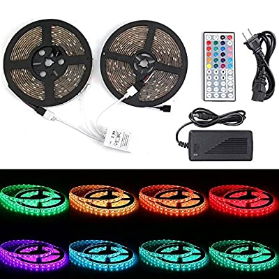 Led Strip Lights,Starlotus SMD 5050 RGB 32.8Ft/10M LED Light Strip Kit,Waterproof Flexible 300 LEDs Lighting Rope Lights with 44-key IR Controller for Holiday Party Outdoor Decoration