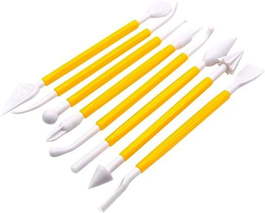 Amarillo 14 Piezas Pl/ástico Manualidades Arcilla para Modelado Utensilio para Formar y Escultura