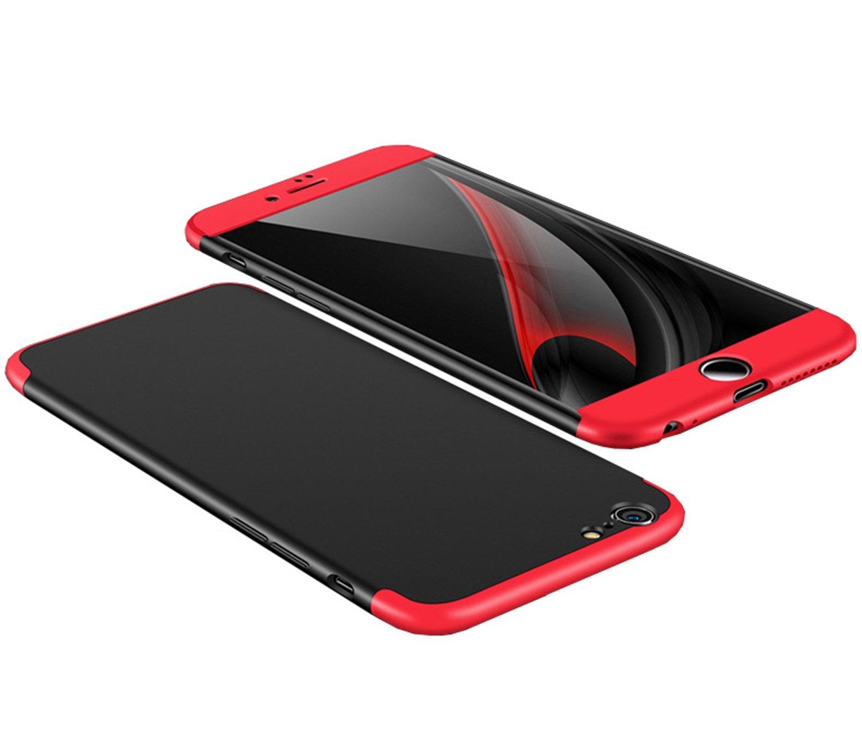 Coque iPhone 6S, Aostar 3 in 1 inté gral Case Cover iPhone 6 6S Ultra Mince Coussin d'Air PC solide Housse Etui Coque de Protection avec Anti-choc et Anti-Scratch Bumper Cover pour iPhone 6/6S 4.7 pouces (Noir + Rouge)