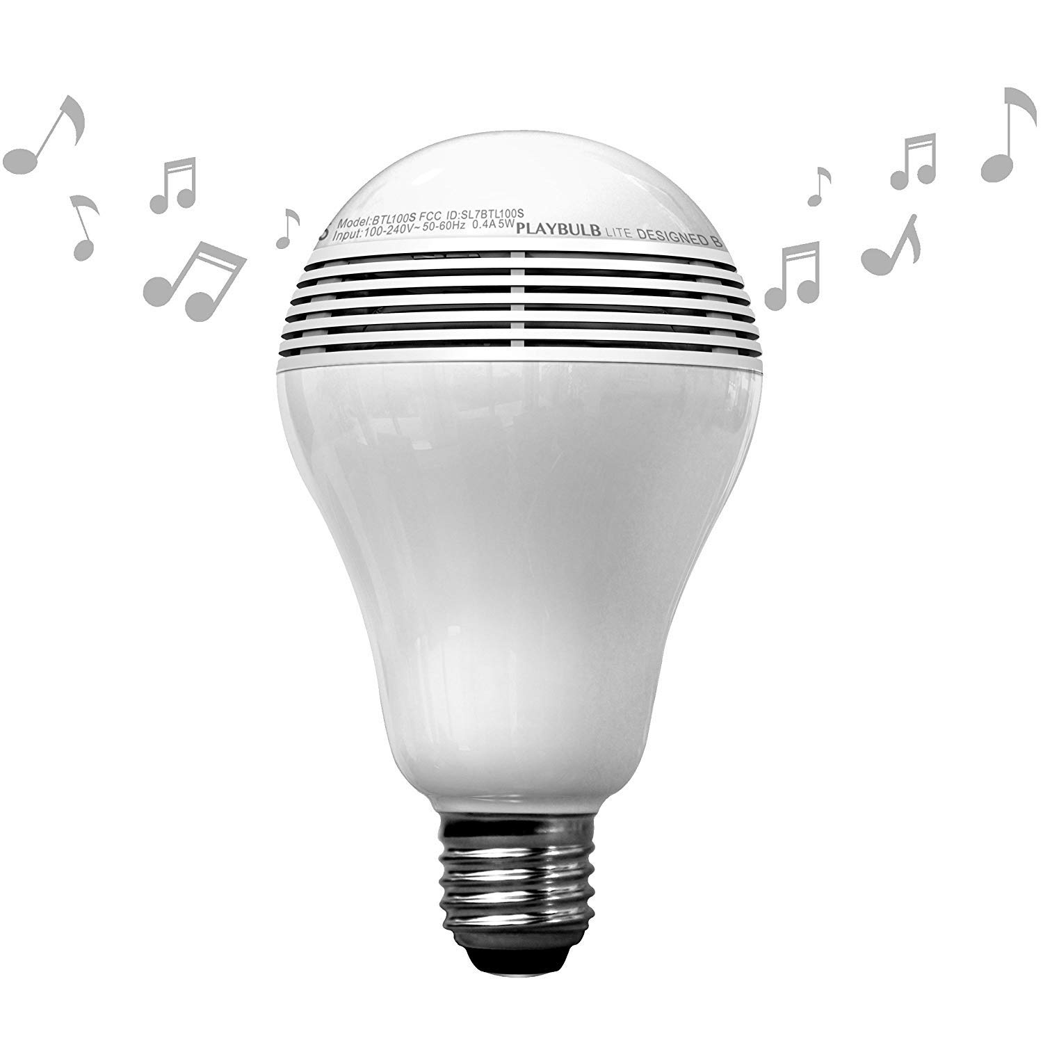 PLAYBULB LED Light Bulb Bluetooth Speaker, Multicolor RGB Color Changing Lamp Wireless Stereo Audio - 110V/5W - E26/E27 Base - App Control - No Hub Required