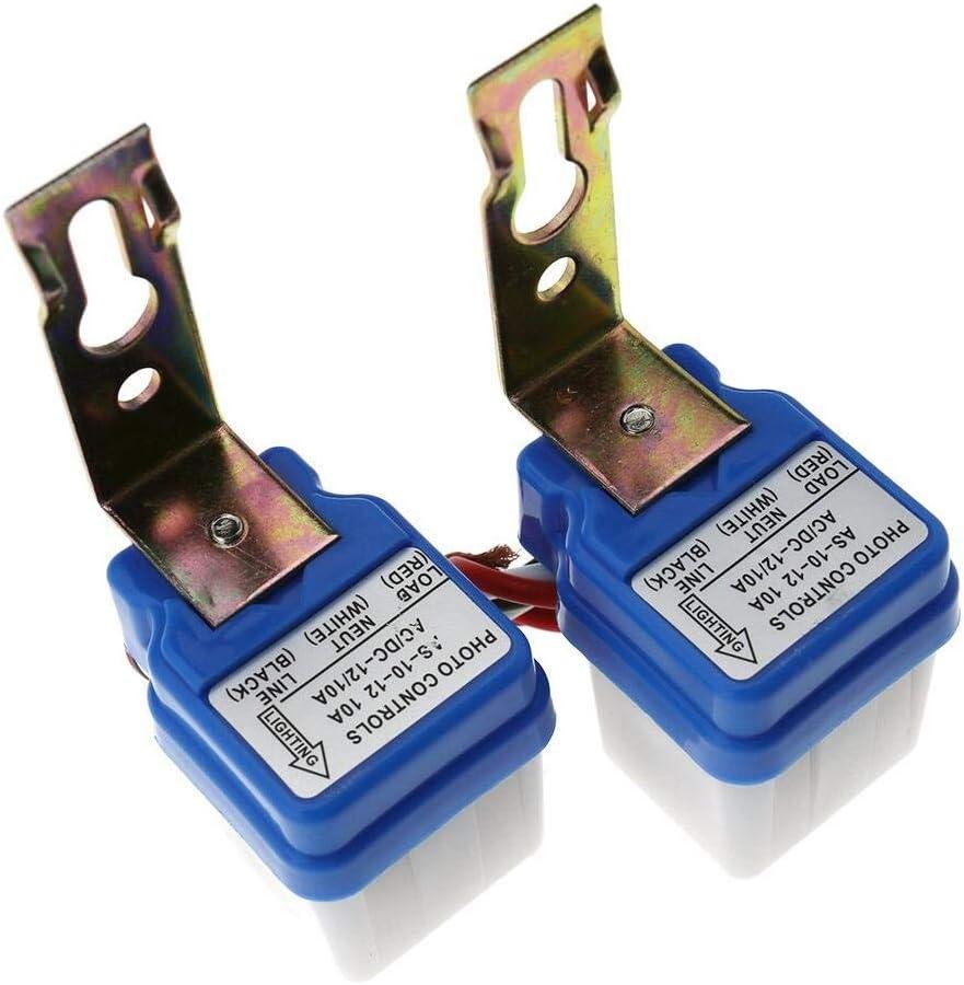 2 Mini interruptores crepusculares de 12 V 10 A con Sensor crepuscular y Sensor de luz
