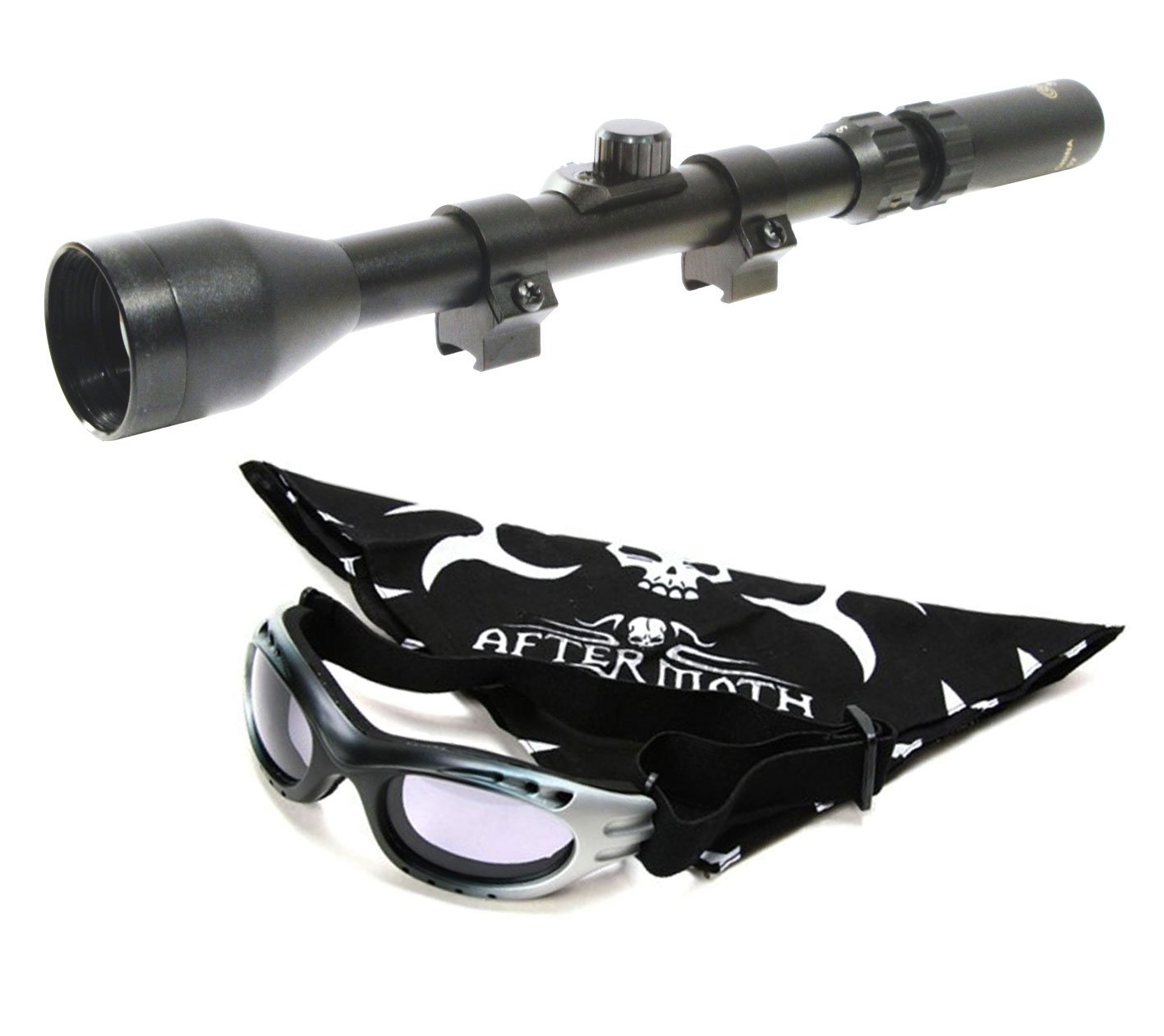 Visor Gamo. Mira telescópica 3-7x28 con zoom. Especial para tiro deportivo + Gafas antivaho + pañuelo cabeza Aftermatch