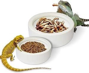 XLHVTERLI Reptile Food Bowl,Worm Dish Mini Reptile Ceramic Water Bowl,Lizard Gecko Feeder Pet Bowls,Mealworm Dish for Bearded Dragon Chameleon Hermit Crab Dubia Cricket Dish Reptile Feeder (2PCS)