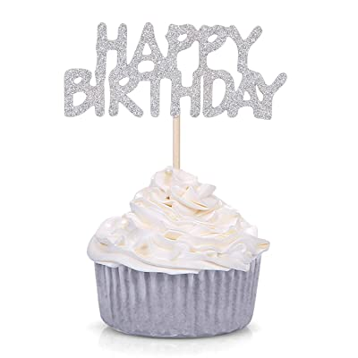 Pack of 24 Silver Glitter Happy Birthday Cupcake Toppers Kid's Birthday Party Celebrating Decors: Toys & Games