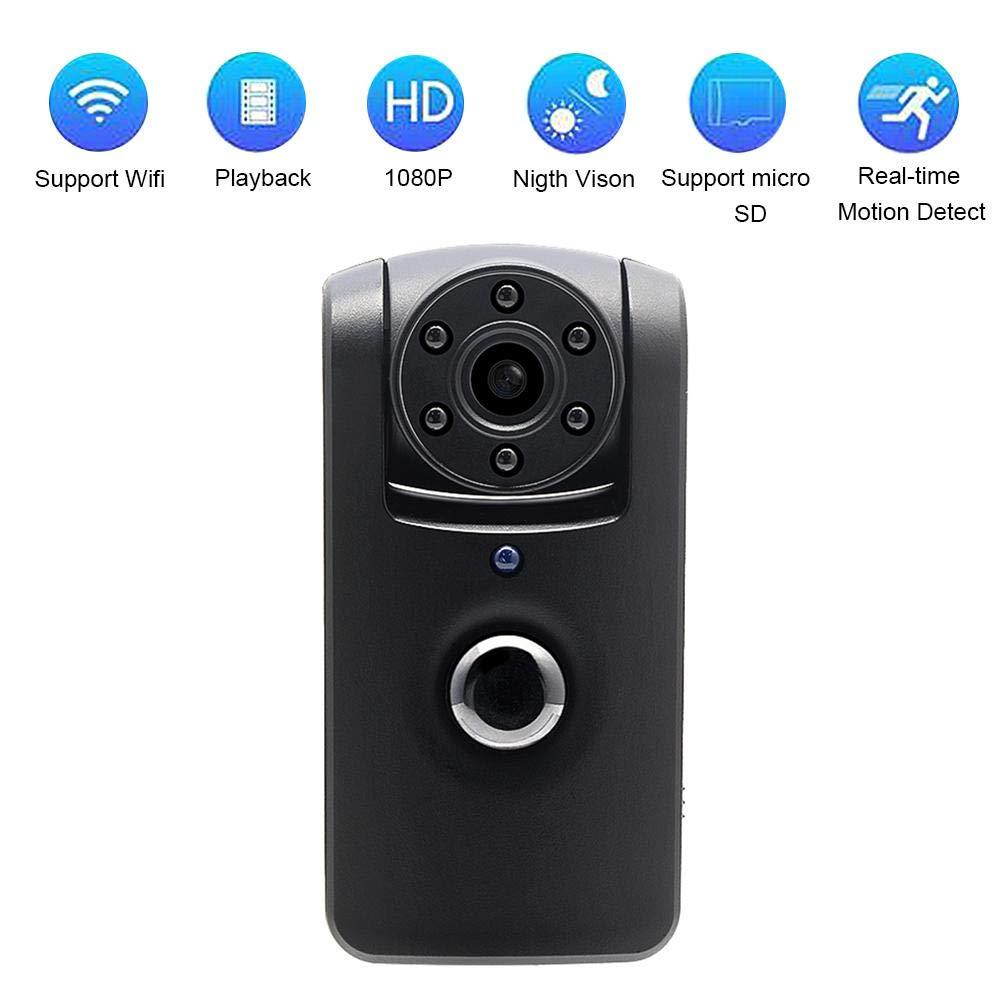Prom-note Cámara HD 1080P Mini Cámara Portátil Interior/Exterior WiFi Cámara IP de Seguridad Admite Tarjeta hasta 64G(no Incluye) Cámara de Vigilancia ...