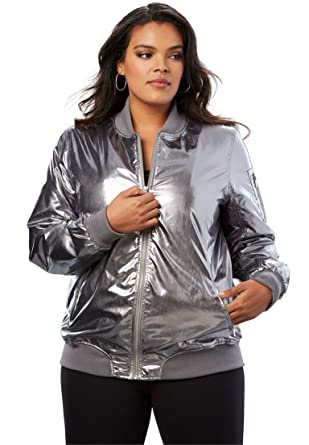 3e54dab6b4ddb Amazon.com  Roamans Women s Plus Size Zip-Front Bomber Jacket  Clothing