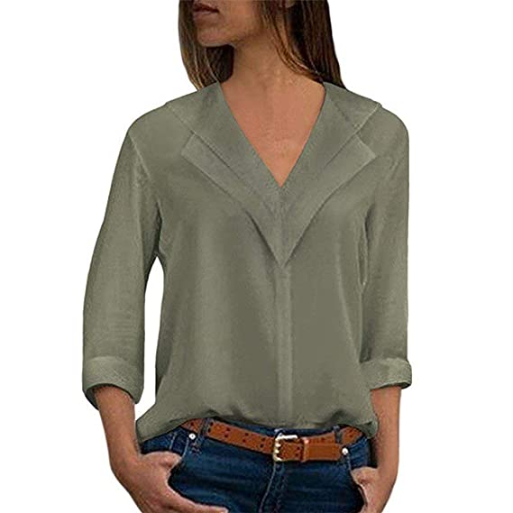 cd0f0e62d Blusa de Mujer BaZhaHei Camisa de Manga Larga para Mujer Formal Oficina  Trabajo Uniforme Señoras Casual