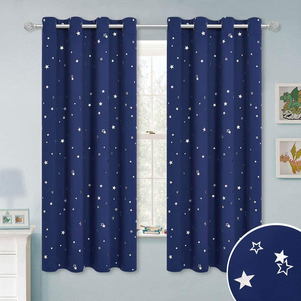RYB HOME Kids Blackout Curtains - Grommet Curtains for Children's Bedroom Star Curtains Privacy Window Treatment Drapes for Baby Nursery Bedroom, Navy Blue, 52 x 63 per Panel, Set of 2