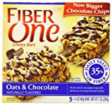 Fiber One Chewy Bars, Oats and Chocolate, 5-Count Boxes (Pack of 12)