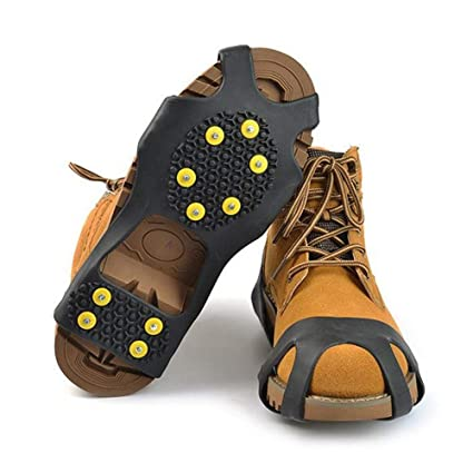 7c46396440e654 StyleZ 10-Stud Spikes Anti Slip Snow Ice Grips Over Shoe Traction Cleats  Rubber Crampons