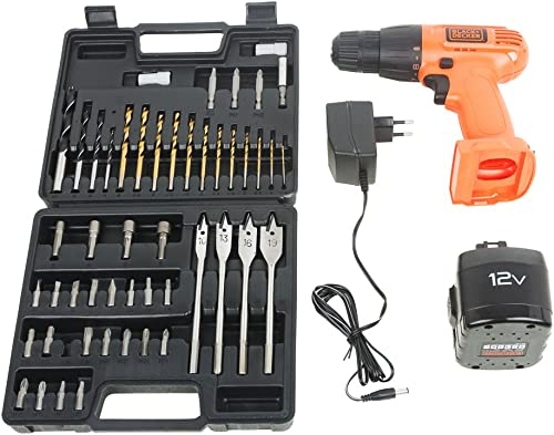3. Tools Centre Black + Decker CD121K50 12-Volt Cordless Drill/Driver with Keyless Chuck and 50 Accessories Kit