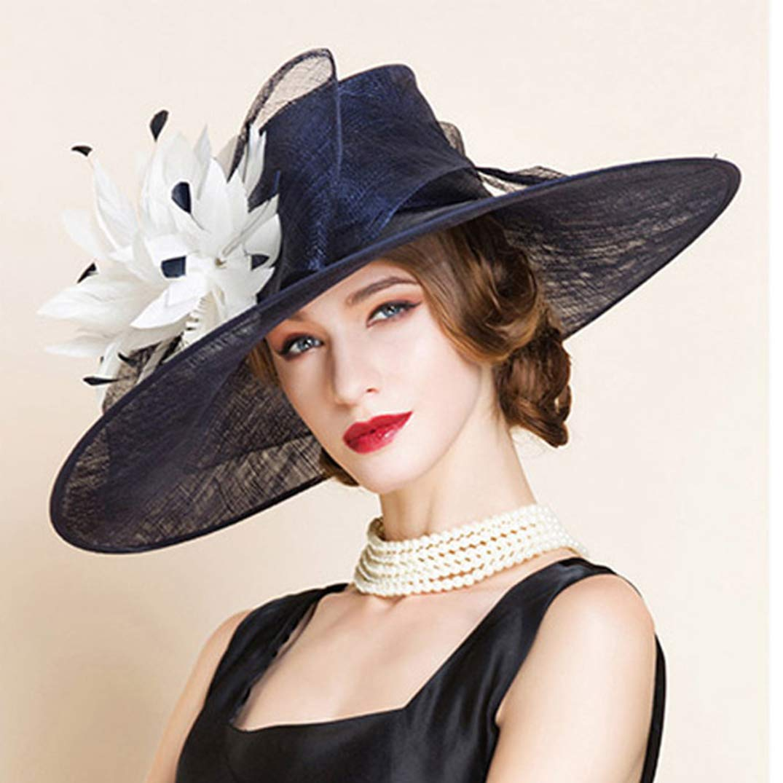 YALOEE Pillbox Hats for Women Fedora Elegant Linen Wedding Fascinator Hat Formal Party Caps Blue by YALOEE (Image #5)