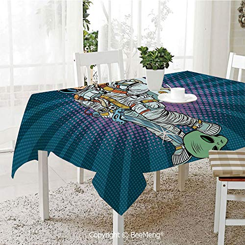 BeeMeng Dining Kitchen Polyester dust-Proof Table Cover,Astronaut,Galaxy Warrior with Sword and Severed Alien Head Masculine Space Era Fighters Decorative,Teal Coconut,Rectangular,59 x 59 inches - Sword Magician