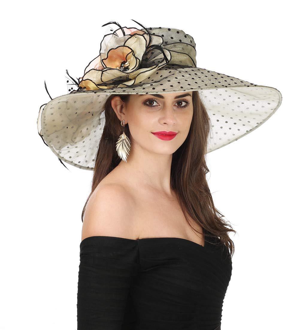 SAFERIN Women's Organza Church Kentucky Derby Fascinator Bridal Tea Party Wedding Hat (GZ-Wide Brim Champagne Dot) by SAFERIN