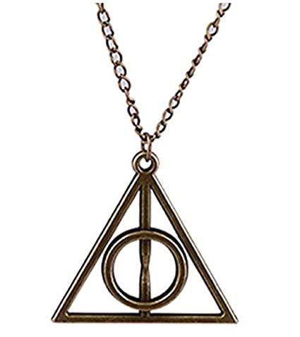 Buy Its Harry Potter Deathly Hallows Golden Bronze Triangle Pendant