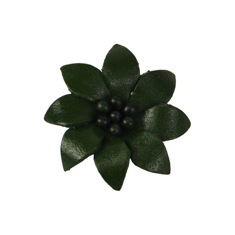 Edelweiss Echt-Leder Anstecker Blume grün - Durchmesser: ca 4 cm
