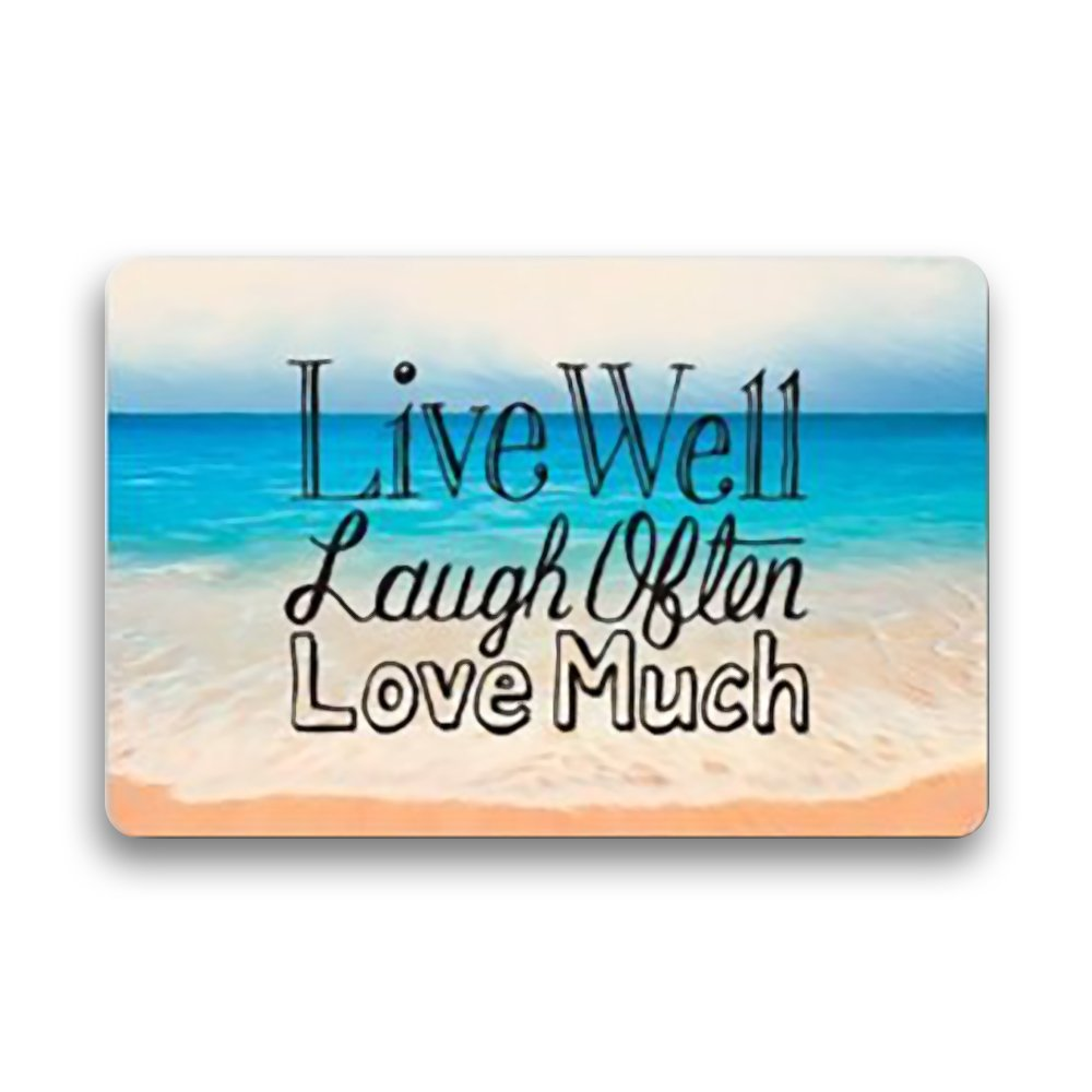 Anzona Doormats Personalized Custom Washable Entrymats Floor Rug Home Decor Non Slip Backing Rubber Live Well Laugh Often Love Much with Sea, 20'' x 31.5''