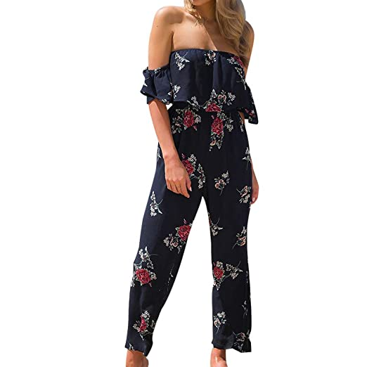 5cb98eadf8e5 TIMEMEANS Jumpsuit Women Floral Print Short Sleeve Summer Playsuit Beach  Rompers Navy