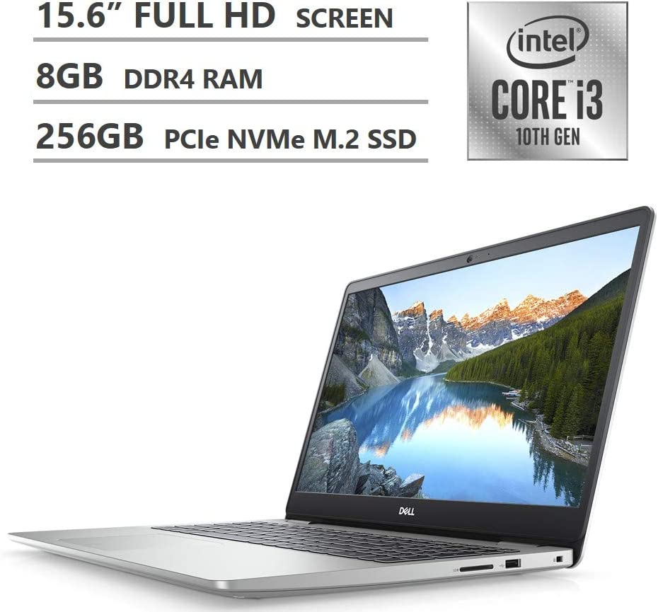 "2020 Newest Dell Inspiron 15 5000 Series Laptop, 15.6"" Full HD Screen, 10th Gen Intel Core i3-1005G1 Processor, 8GB DDR4 RAM, 256GB Solid State Drive, HDMI, Wi-Fi, Bluetooth, Windows 10 Home, Silver"