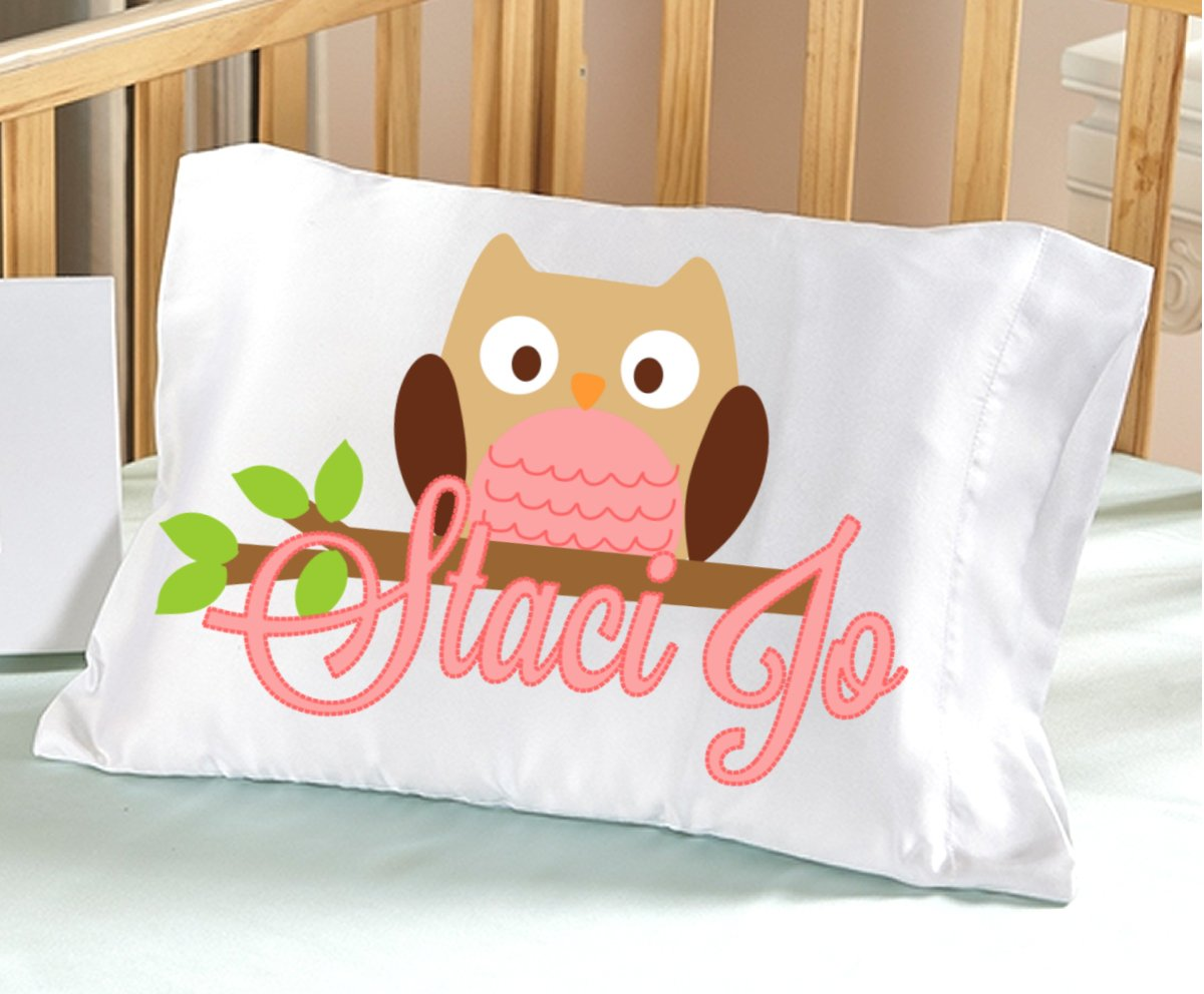 Personalized Owl Pillowcase ( Toddler Travel 13 x 20, Pink Owl ) for Kids Pink Pillow Case for Girls Birthday or Christmas Gift