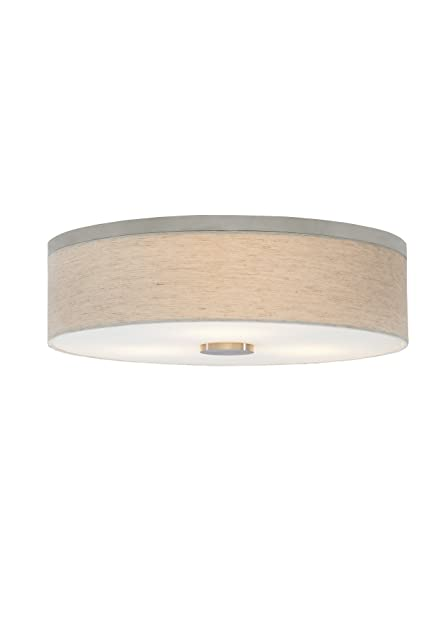 Lbl lighting fm700libz2d drum shade flush mounts with fabric linen with opal glass diffuser shades