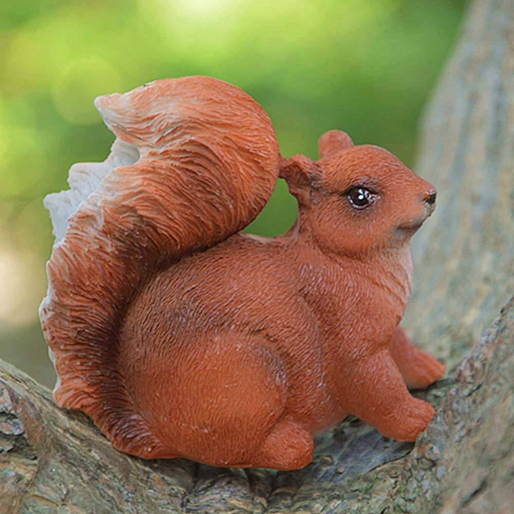 GYDJ Squirrel Garden Statue Miniatures Home Decor Brown Mini Lively Outdoor Yard Art Ornament Figurine for Potted Decoration Crafts