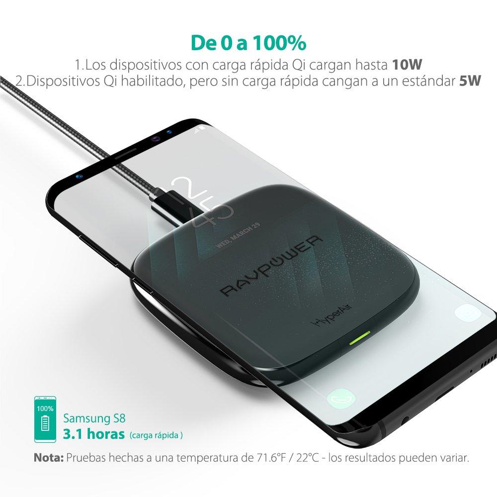 S8+ RAVPower Cargador Inal/ámbrico R/ápido Compatible con Samsung S8 S6 7.5W Anti-Deslizamiento Dise/ño para Samsung y Tel/éfonos S7 Edge S7