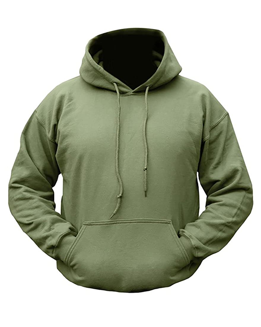 sports shoes 3a08d d277a Mens Army Combat Military Hooded Hoodie Sweat Shirt Feece Track Skate Top  Plain Green