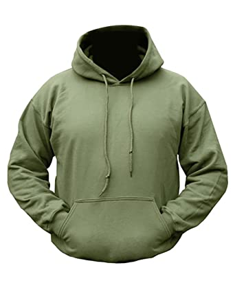Mens Army Combat Military Hooded Hoodie Sweat Shirt Feece Track Skate Top  Plain Green (Medium d4c969083