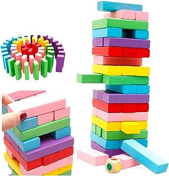 KuaiKeSport Jenga Juego,Juego Torre de Madera Juego Familiar Bloques de Construcción,Juego Madera Torre Juegos de Mesa para Regalo para Niños Adultos: Amazon.es: Deportes y aire libre
