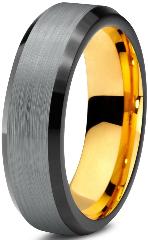 Midnight Rose Collection Tungsten Wedding Band Ring 6mm for Men Women Black & 18K Yellow Gold Plated Beveled Edge Brushed Polished