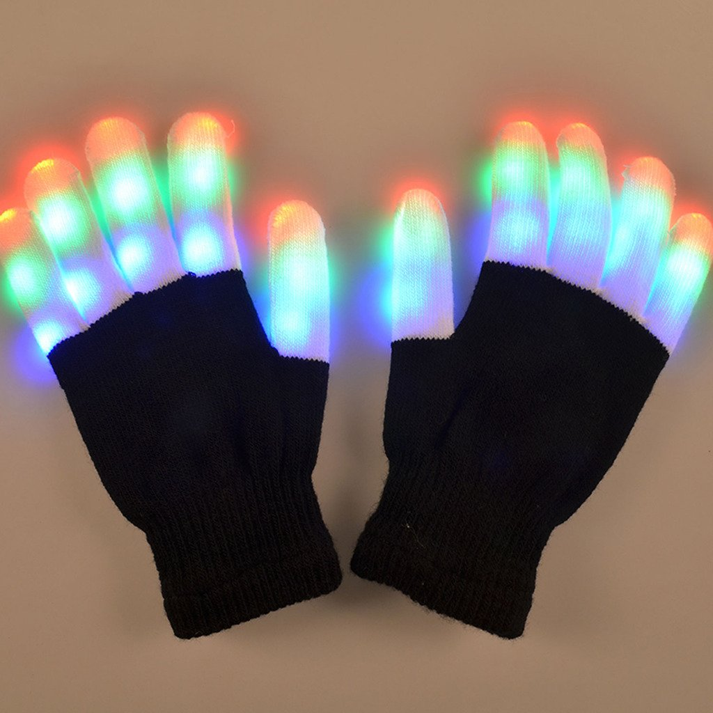 TrendBox 1 Pair LED Flashing Glowing Gloves 6 Modes Colorful Lighting Fingers Unisex For Adult Children Safety Party Halloween with Battery