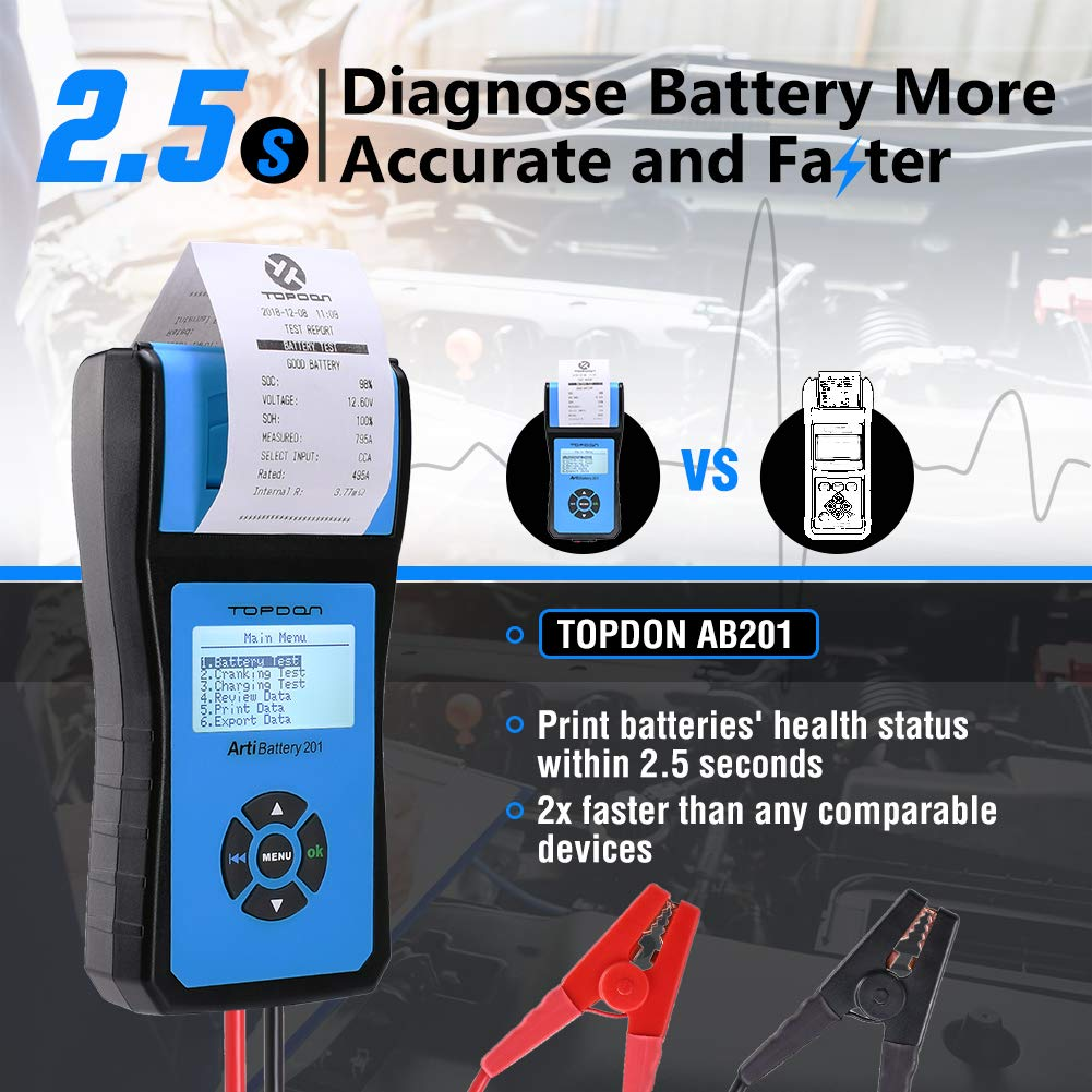 Battery Tester TOPDON AB201 Battery Analyzer 12V/24V 100-2000 CCA with Cranking/Charging/Battery Tests, Data Printing/Export/Review Functions for DIYers and Garages Battery Load Tester –Black and Blue by TT TOPDON (Image #6)