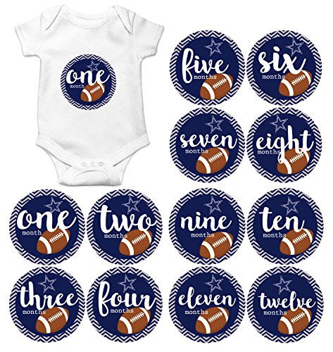 - Gift Set of 12 Round Keepsake Photography Monthly Baby Stickers with Dallas Texas Cowboys Football MOSB8022