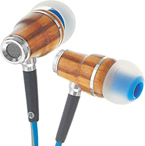 Symphonized NRG 3.0 Wood Earbuds Wired, In Ear Headphones with Microphone for Computer & Laptop, Ear Phones for Android with Stereo Sound (Blue & Gray)