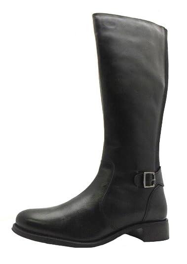 b36cbb101e0 Size 8 Women s Mango Ravel Zip Up Black Leather Knee High Boots   Amazon.co.uk  Shoes   Bags