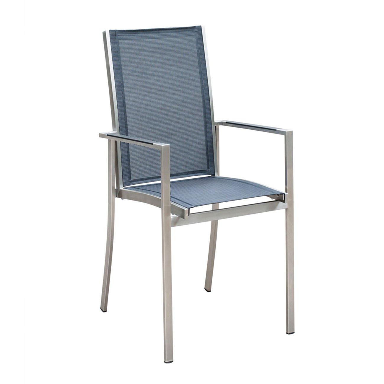 Gartenstuhl OUTLIV. Oviedo Stapelsessel Edelstahl/Textilene silber-schwarz Stuhl Garten