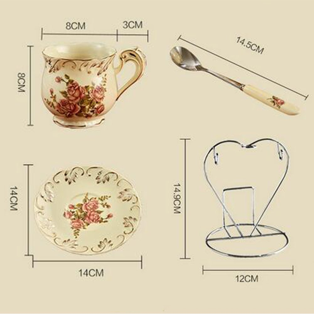 1 Set NDHT Bone China Teacups//Coffee Cups /& Saucers Sets with Spoons-6.7Oz for Home Display /& Holiday Gift,Flower,with Gift Box Restaurants