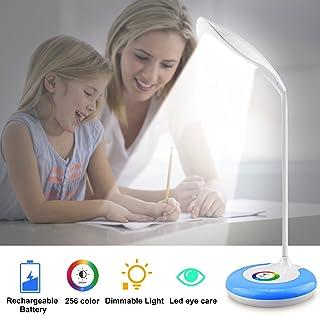 Kids Desk Lamps,Wireless Rechargeable Light Table Lamp,Color Changing Eye-Caring Led Light Desk,Flexible Gooseneck Led Desk Lamp,3 Brightness Levels Night Light For Office Girls Boys