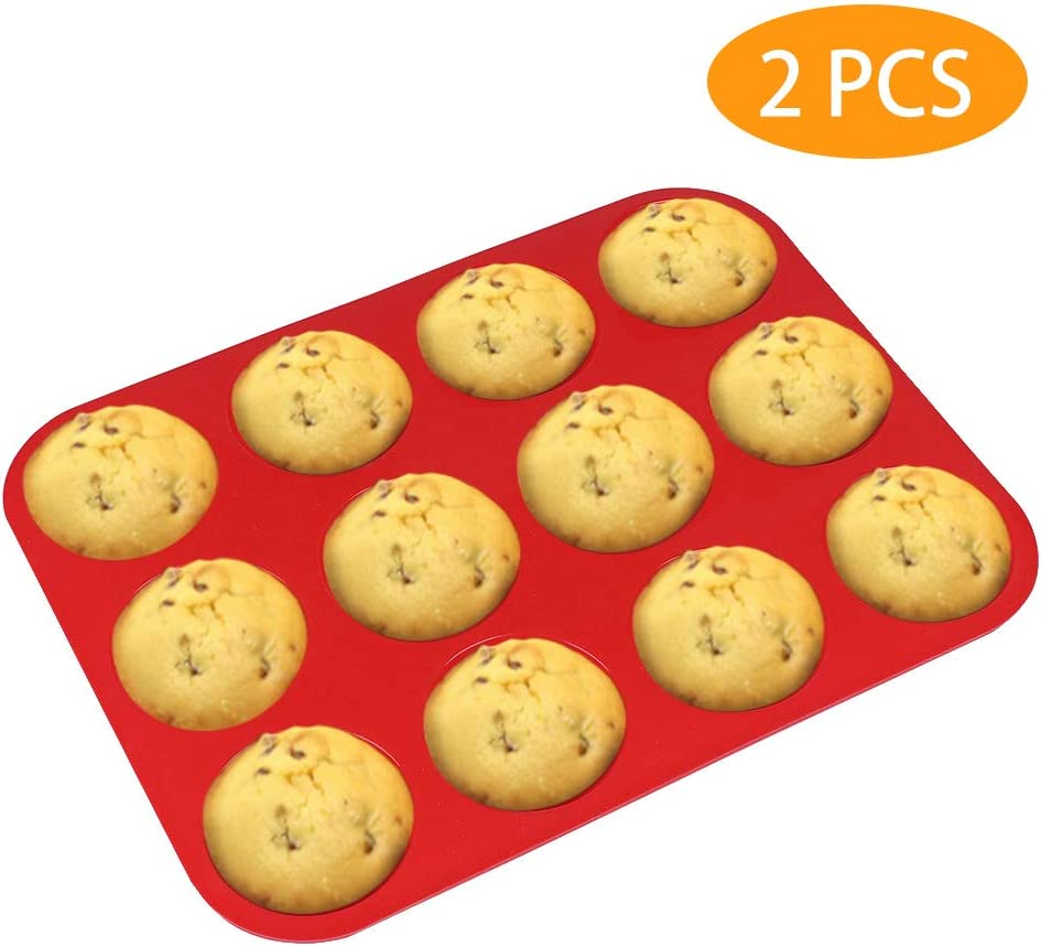 Silicone Muffin Pan, McoMce Egg Muffin Tin, 100% Food Grade Silicone Cupcake Baking Cups BPA Free & FDA Approved, Reusable Silicone Cupcake Pans, 12 Cups Non-stick Silicone Muffin Pancake Set (Red)