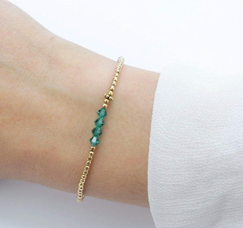 SCHOSCHON Damen Armband Grün Gold 925 Silber vergoldet