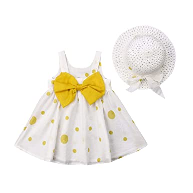 c808aa02d5c87 Toddler Baby Girl Sleeveless Tutu Dress Dots Bow Sundress Straw Hat Summer  Outfits Clothes Set