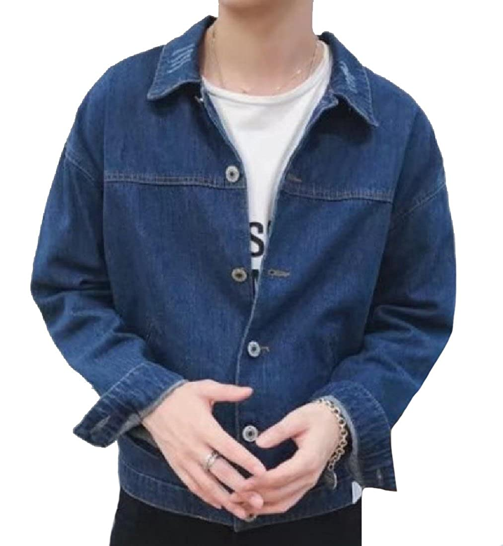 Vivi-Men Fold-Collar Faded Basic Style Youths Trucker Jacket