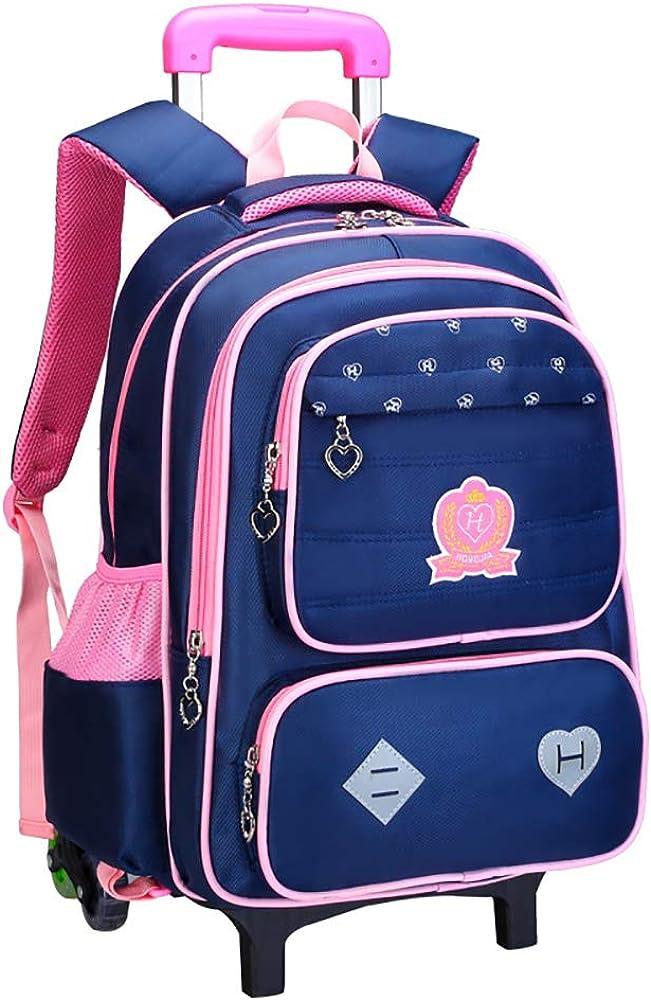 TFTREE Mochila con ruedas para niñas para el bolso de la escuela, mochila ruedas, mochila para portátil con ruedas, mochila impermeable de viaje con ruedas de seis ruedas