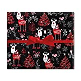 Reindeer on Black Jumbo Rolled Gift Wrap - 72 sq ft.