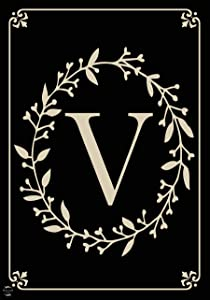"""Briarwood Lane Classic Monogram Letter V Garden Flag Everyday 12.5"""" x 18"""""""
