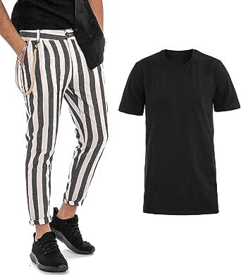 Giosal Outfit – Camiseta Negra de un Solo Color, Pantalones a Rayas Negros, Conjunto para Hombre Casual Negro S: Amazon.es: Ropa y accesorios