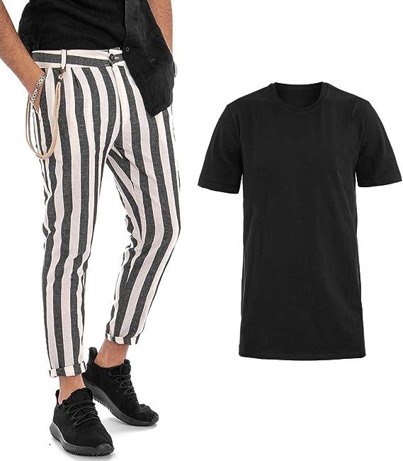 Giosal Outfit Camiseta Negra De Un Solo Color Pantalones A Rayas Negros Conjunto Para Hombre Casual Negro S Amazon Es Ropa Y Accesorios